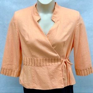 JH Collectibles peach beaded wrap blazer